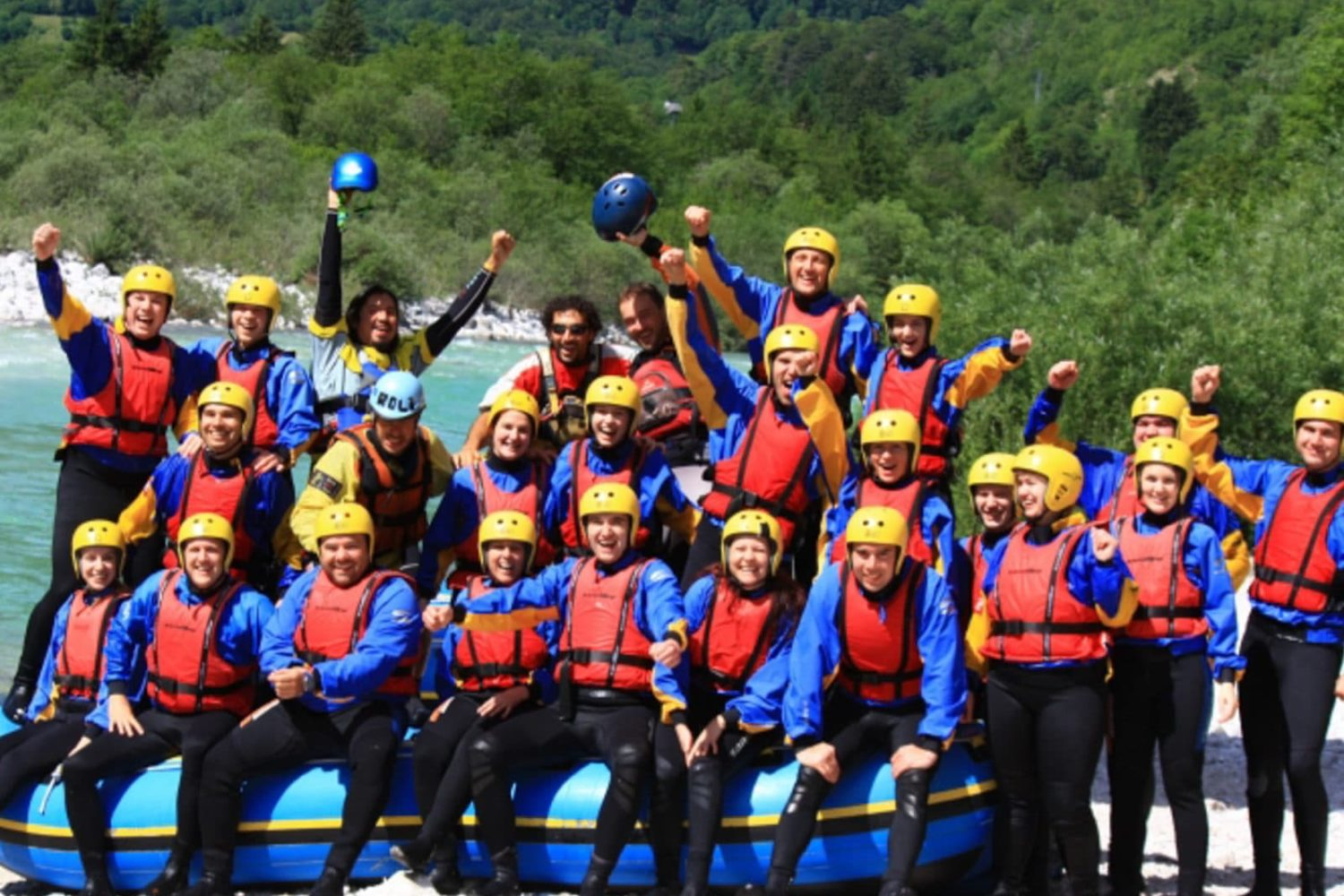 Guided rafting on Soca river
