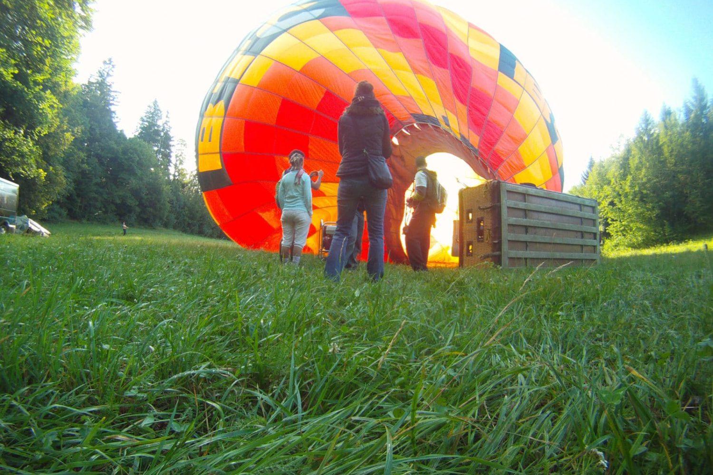Balloon flight preparations Slovenia