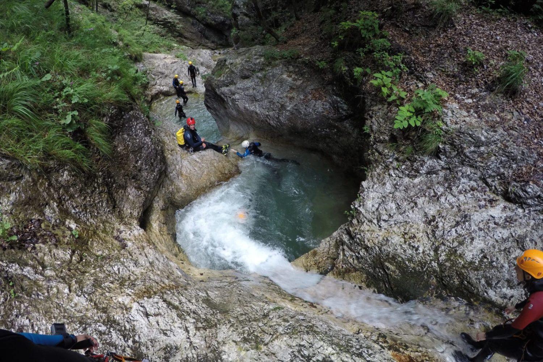 Canyoning in triglav national park Slovenia