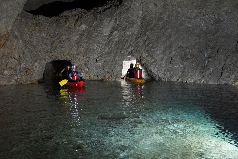 Cave kayaking in slovenija