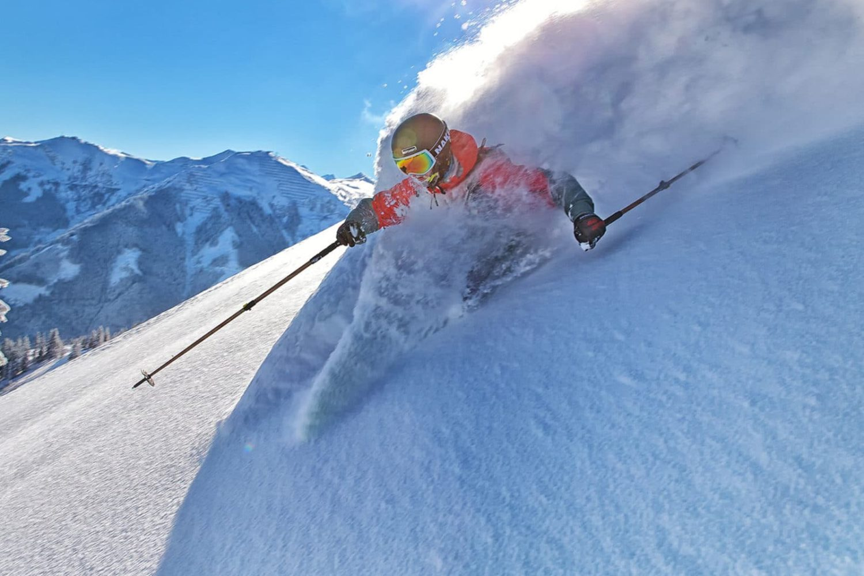 Freeride skiing in Julian Alps Slovenia