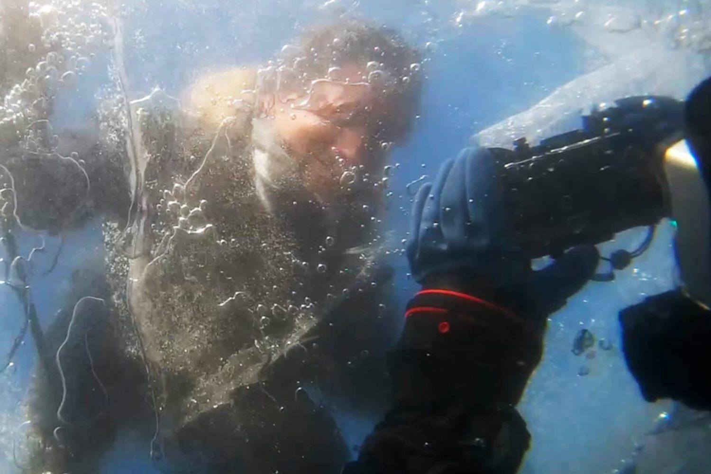 Scuba diving under ice in Slovenia