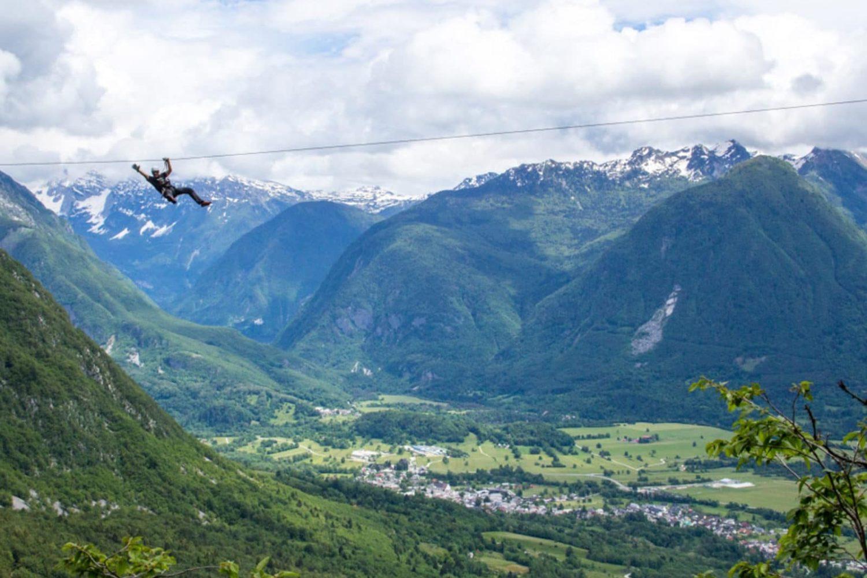Zipline in Bovec valley