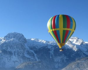 Winter balloon flight in Slovenia