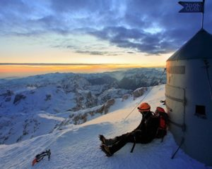 Winter mountaineering on Triglav Slovenia