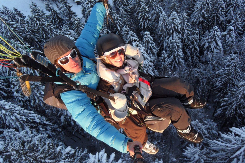 Winter paragliding in Ljubljana