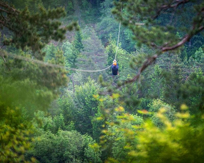 The best zipline in Bled above Sava Dolinka river