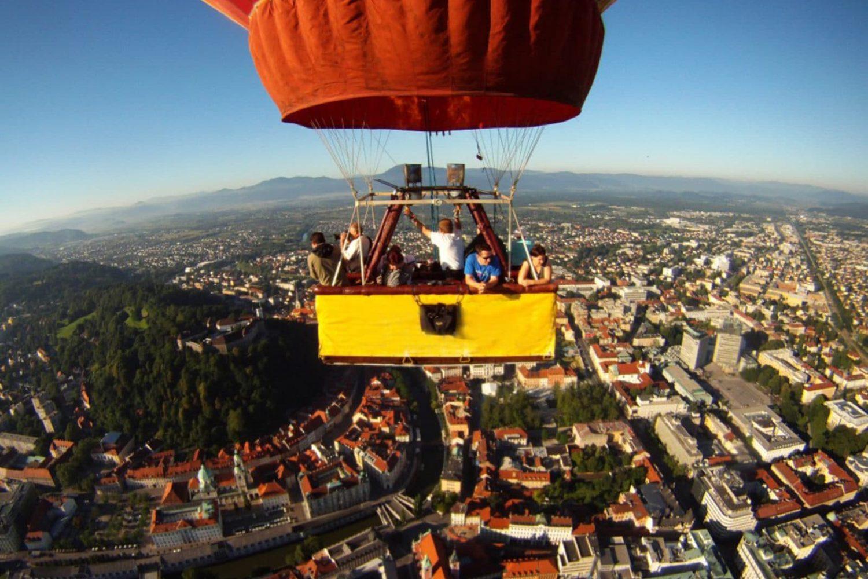 Hot air ballooning over Ljubljana