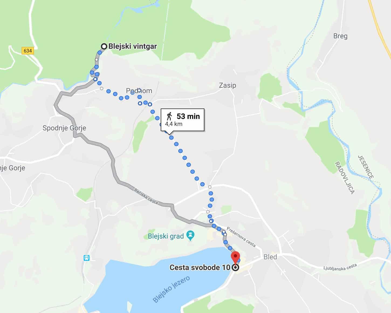 Bled-Vintgar walking map